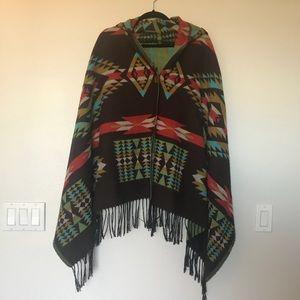 Tribal hooded poncho